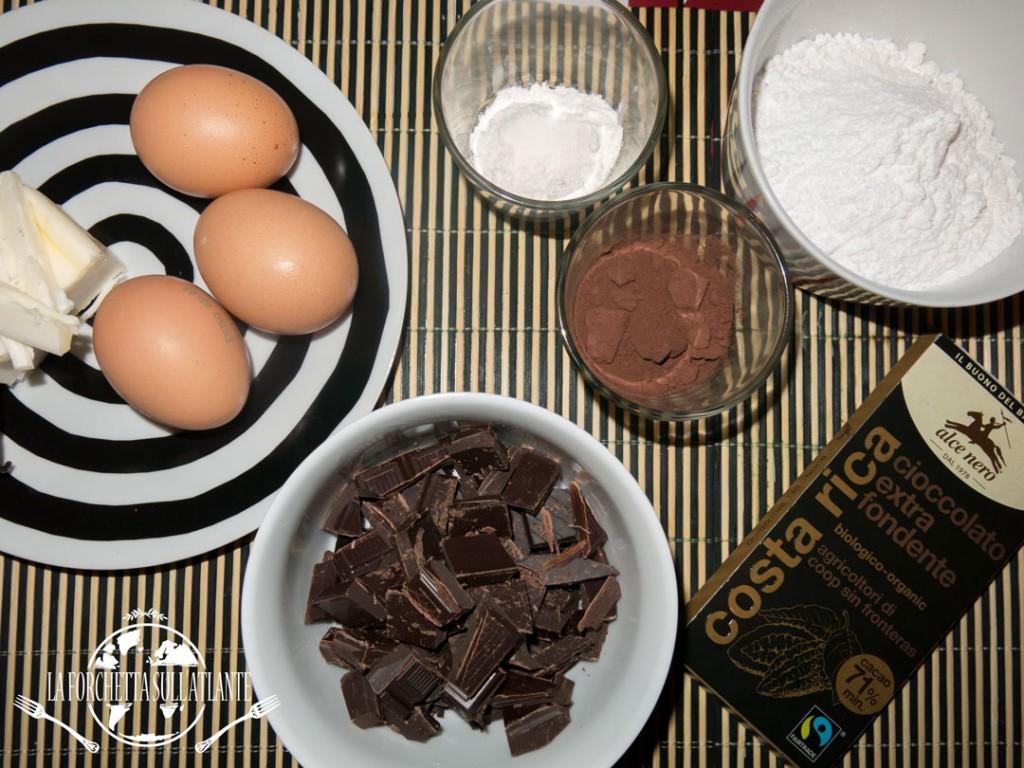 ingredienti del tortino di cioccolato fondente con cuore morbido