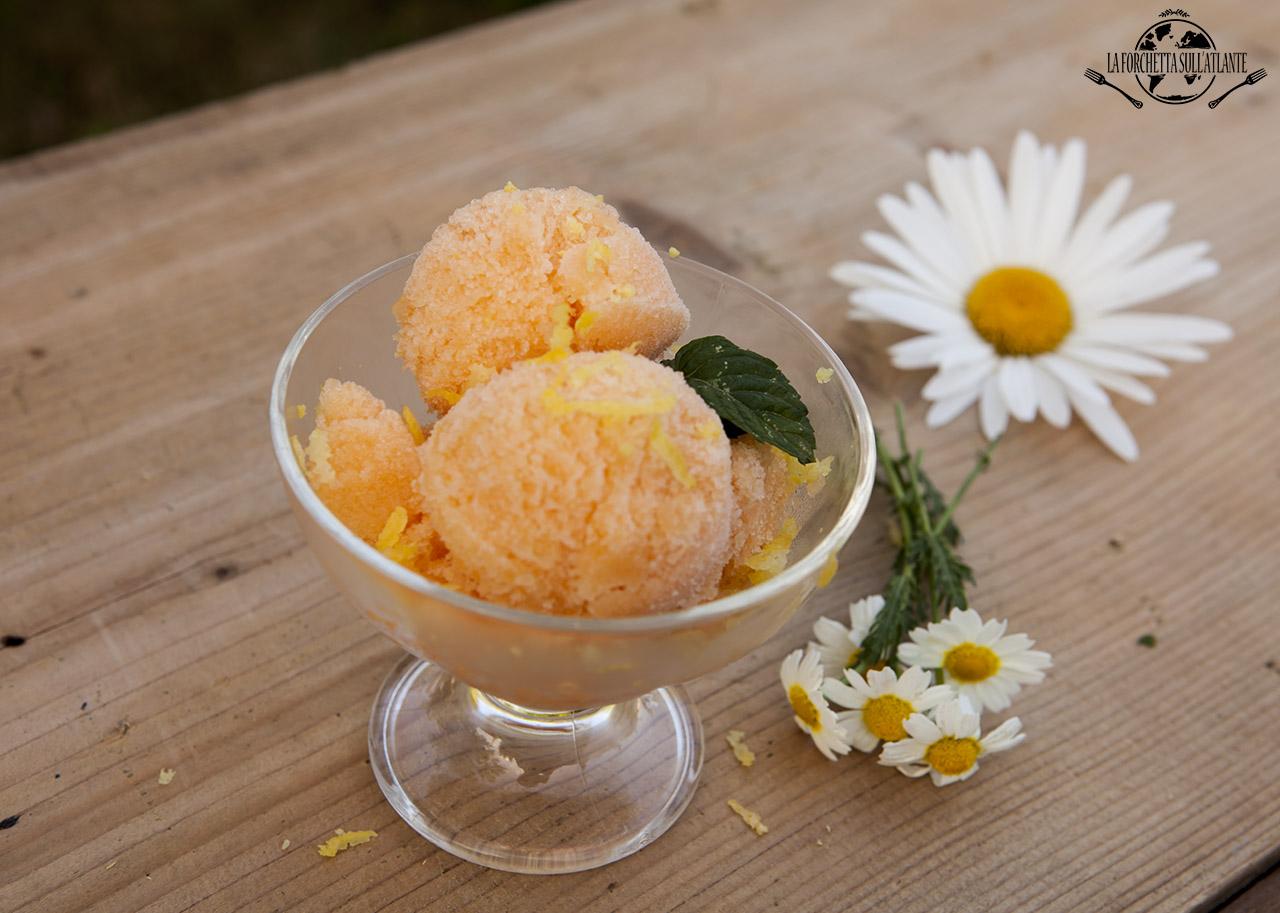 Sorbetto di melone aromatizzato al limoncello