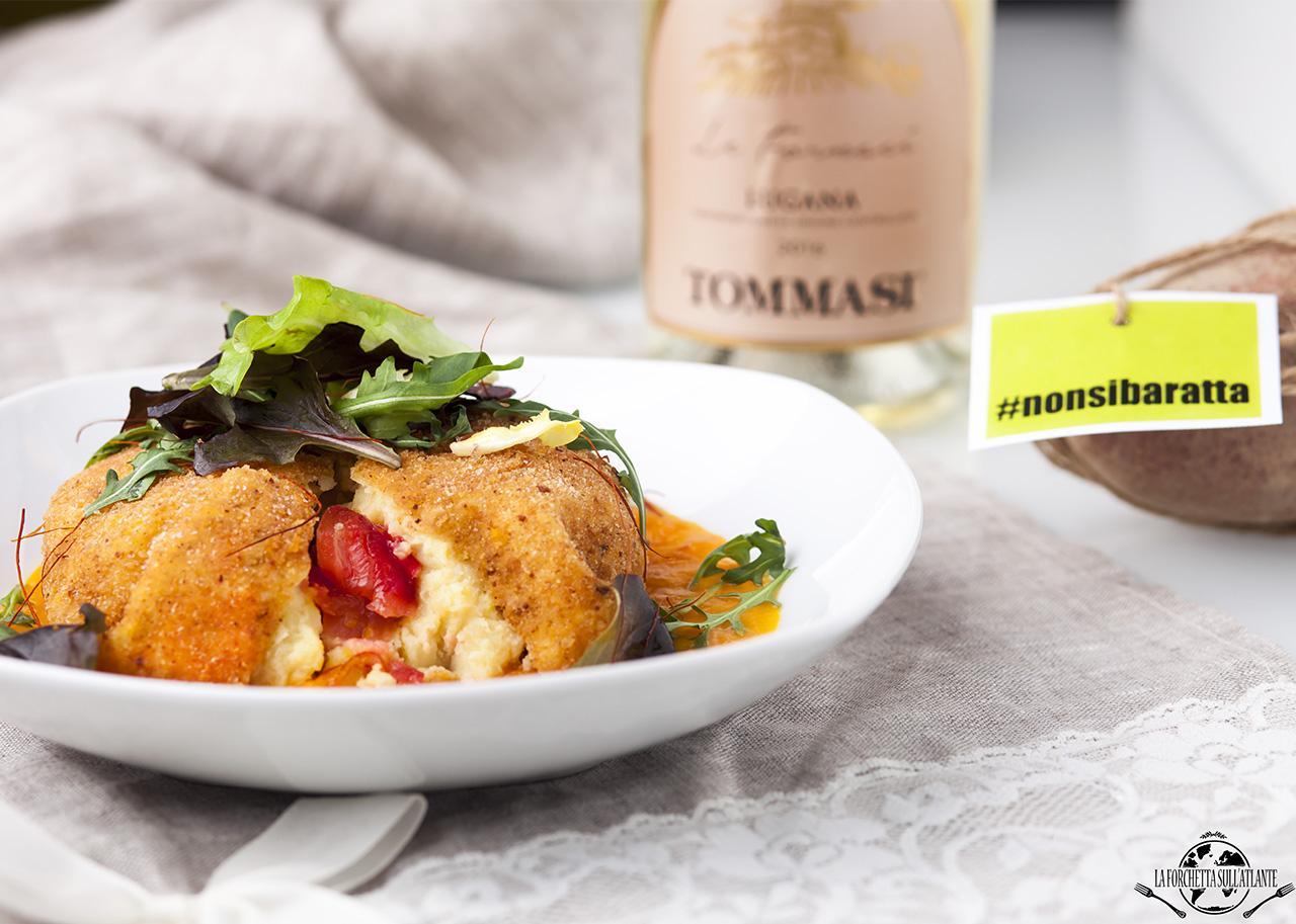 Crocchetta di patate e salmone con vellutata di zucca e carote, per #nonsibaratta